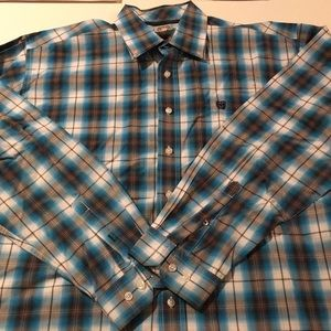 Cinch Blue and Brown Plaid Button-Up Shirt L